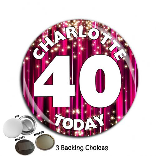 Large 75mm Personalised Pink Sparkle Happy Birthday Badge N55 (Pin / Magnet / Mirror Backing)